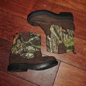 Mossy Oak Faded Glory cowboy camo boots sz 4 NWOT